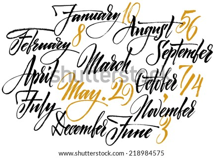 Title of months of the year. Numbers from 0 to 9. - stock vector