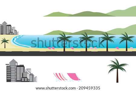 Title: Paradise Beach around the world Description: Panorama beach landscape around the world - stock vector