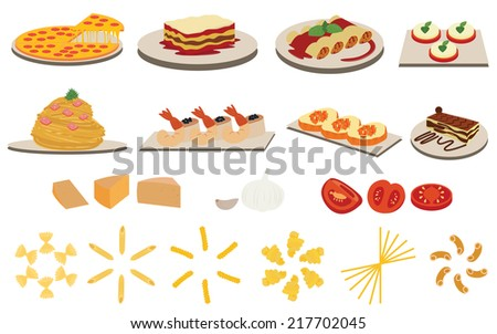 Title: Set of Italian Cuisine Menu Description: Set of Italian Cuisine Menu vectors - stock vector