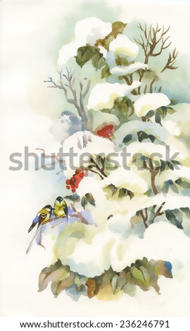 Titmouses on the snowy branch vector illustration - stock vector