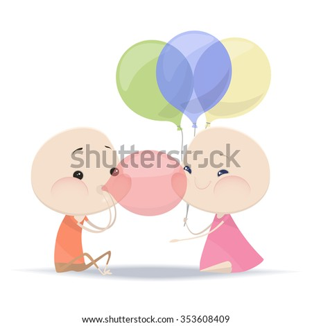to blow up balloons - stock vector
