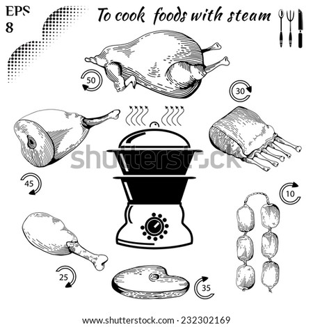 To cook  foods with steam. Healthy food. Cooking on Steaming. Tasty meat concept collection. Isolated Illustration of meat. Drawn in a doodled style. Engraving image. Eps 8 - stock vector