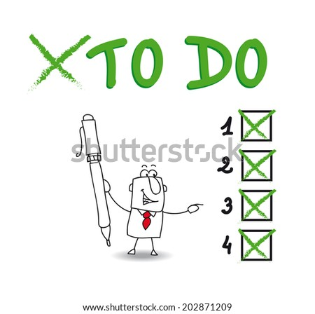 To do. Joe have a list of things to do. He checks a list - stock vector