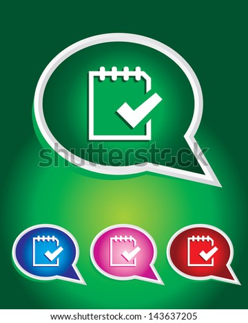 to do list on note Icon on The Speech Bubble - stock vector