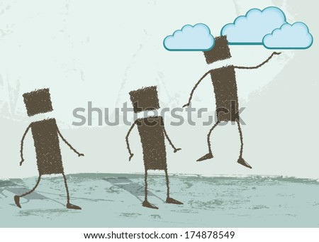 To have one's head in the clouds. A person is floating in the air, his head in the clouds. Two people are looking from the ground. EPS8 Illustration. - stock vector