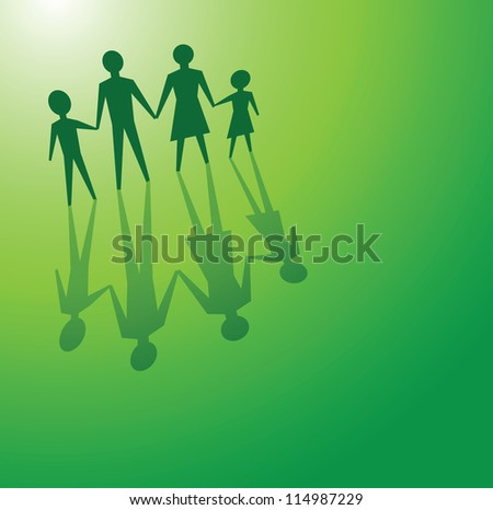 to illustrations a family in a green background, for environmental concepts. - stock vector