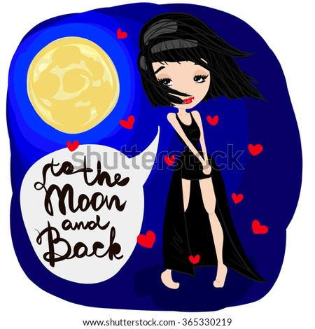 To the Moon and Back Illustration, Cute Cartoon Brunette Vampire Girl with a Long Black Dress, Beautiful Smile and the Moon and Hearts, Flat Design - stock vector