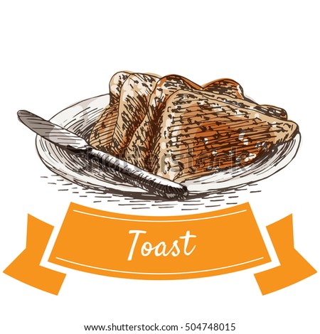Toast colorful illustration. Vector illustration of breakfast.