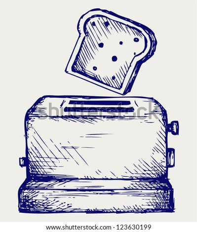 Toast popping out of a toaster. Doodle style - stock vector