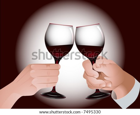 Toast with red wine, vector illustration, EPS file included
