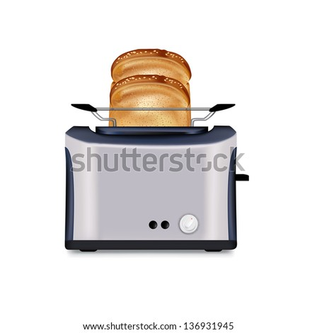 toaster and two slices of bread isolated on white - stock vector