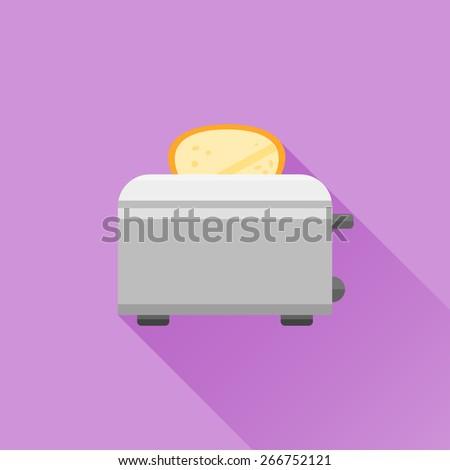 Toaster flat icon - stock vector