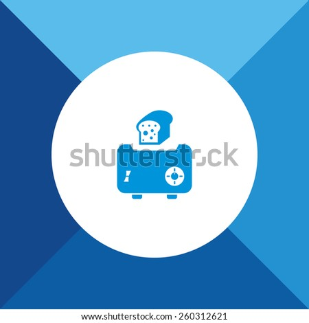 Toaster Icon on Blue Background. Eps-10. - stock vector