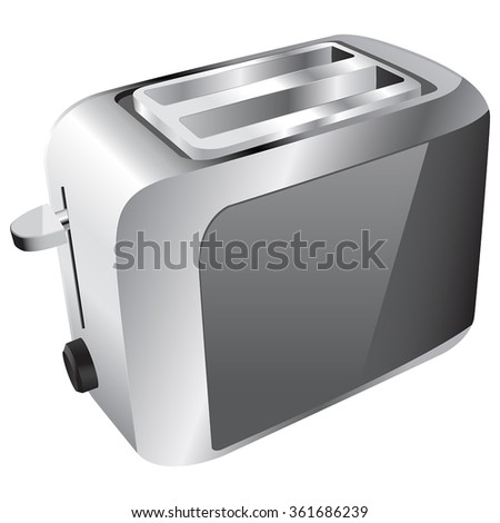 Toaster Vector. Brushed metal texture. Vector illustration isolated on white background