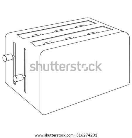 Toaster. Vector isolated on white background.