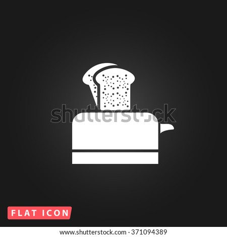 Toaster. White flat simple vector icon on black background. Icon JPEG JPG. Icon Picture Image. Icon Graphic Art. Icon EPS AI. Icon Drawing Object. Icon Path UI - stock vector