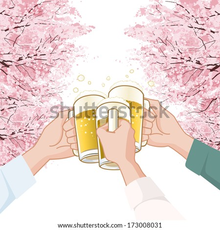 Toasting with beer  in Sakura Cherry blossoms background.  File contains Clipping mask, Gradients. - stock vector