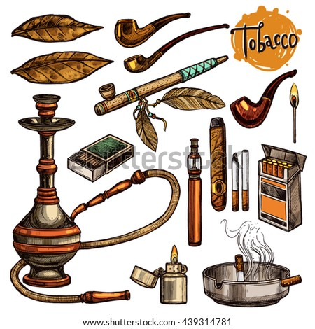 Tobacco And Smoking Sketch Set. Colorful Hand Drawn Cigarettes, Cigars, Hookah, Matches, Tobacco Leaves, Ceremonial Pipe, Lighter, Ashtray, Vintage Tobacco Pipes - stock vector