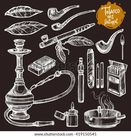 Tobacco And Smoking Sketch Set. Hand Drawn. - stock vector