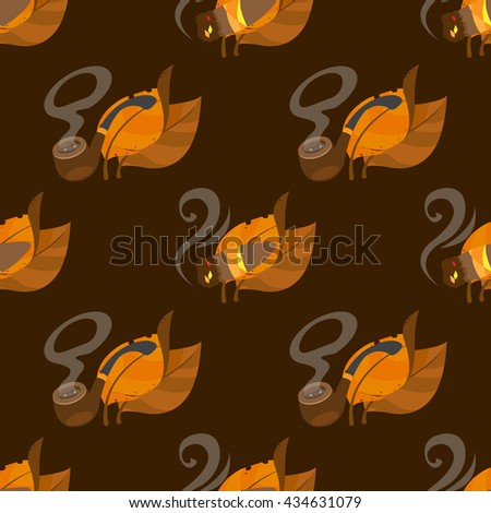 Tobacco leaves, tobacco pipe and cigar seamless pattern on brown background for design surface.