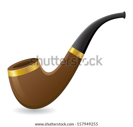 tobacco pipe vector illustration isolated on white background - stock vector