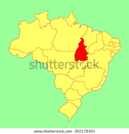 Tocantins, Brazil, vector map isolated on Brazil map. Editable vector map of Brazil.  - stock vector