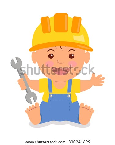 Toddler in the construction hardhat with a wrench in his hand. Isolated child in a helmet, yellow T-shirt and blue overalls with suspenders.