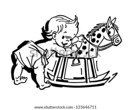 Toddler With Rocking Horse - Retro Clipart Illustration - stock vector