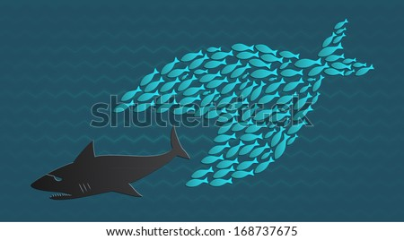 Together we stand: Big Little Fish eats Big Fish - stock vector