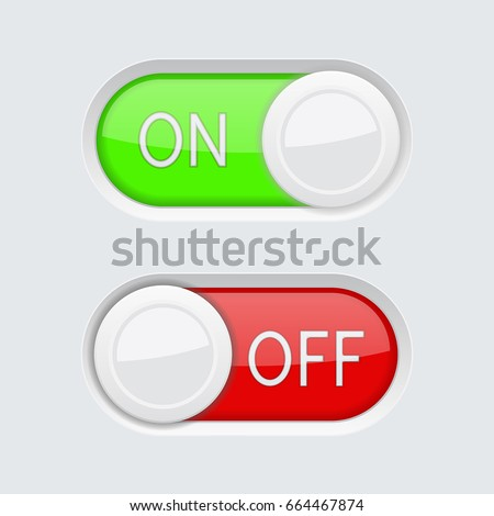 Toggle Switch Buttons Green Red On Stock Vector 664467874 Shutterstock