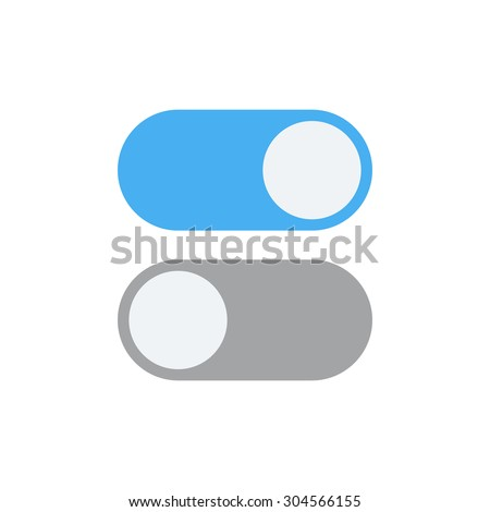 Toggle switch vector icon, On and Off position simple icons, modern minimal flat design style - stock vector