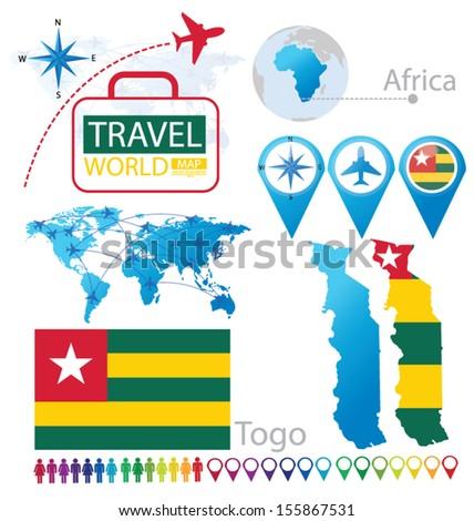 Togo. flag. World Map. Travel vector Illustration. - stock vector