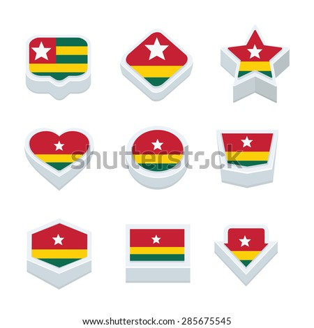 togo flags icons and button set nine styles