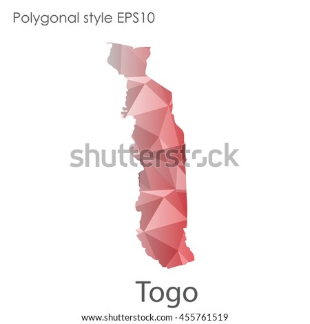 Togo map in geometric polygonal style.Abstract gems triangle,modern design background.Vector Illustration EPS10.