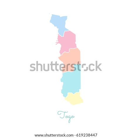 Togo Region Map Colorful White Outline Stock Vector - Togo map outline