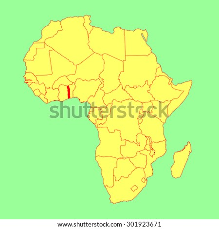 Togo vector map isolated on Africa map. Editable vector map of Africa. - stock vector