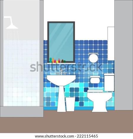 Toilet and bathroom interior - vector format - stock vector