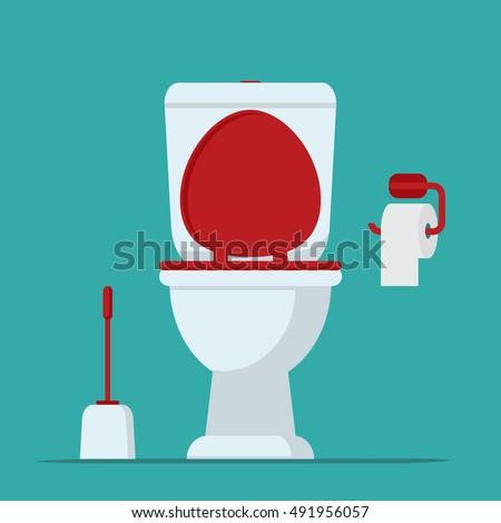 Toilet Bowl Toilet Paper Brush Toilet Stock Vector ...