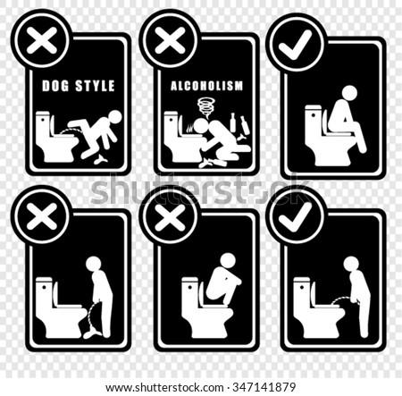 Toilet Hygiene, sticker vector - stock vector