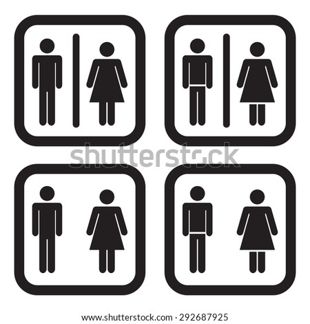 Toilet icon in four variations