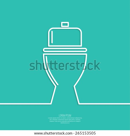 toilet icon, wc, green background. Vector illustration eps 10. minimal. Outline. - stock vector