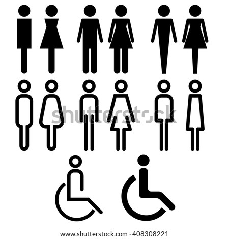 toilet icon with various style vector icon sign symbol pictogram info graphic - stock vector