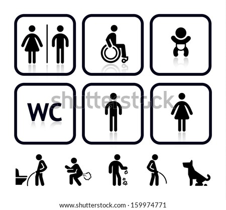 Toilet icons, vector illustrations, silhouettes isolated on white background - stock vector