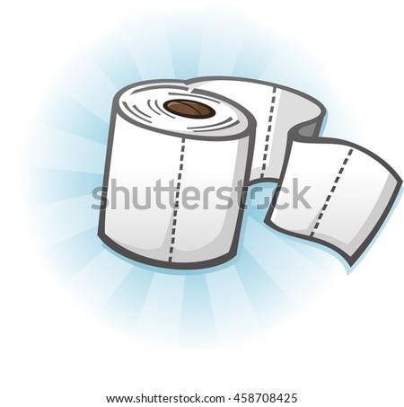 Toilet Paper Cartoon Illustration - stock vector