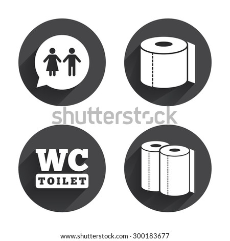 Toilet Paper Icons Gents Ladies Room Stock Vector 300183677
