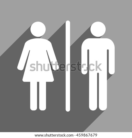 Toilet People long shadow vector icon  Style is a flat toilet people white  iconic symbol. Male Female Restroom Symbol Icon Vector Stock Vector 261097922