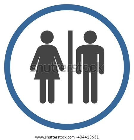 Toilet Persons vector bicolor icon. Picture style is flat WC persons rounded icon drawn with cobalt and gray colors on a white background.