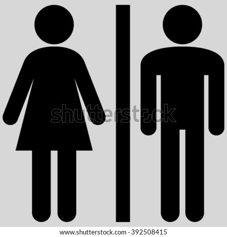 Toilet Persons vector icon. Image style is flat WC persons pictogram symbol drawn with black color on a light gray background. - stock vector