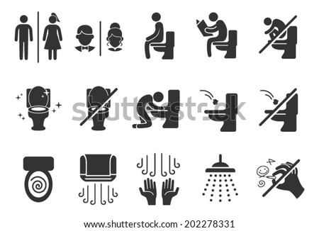 Toilet Public Sign Symbol Icon Pictogram - stock vector