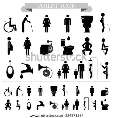 toilet restroom icons  silhouette Illustration eps10  - stock vector